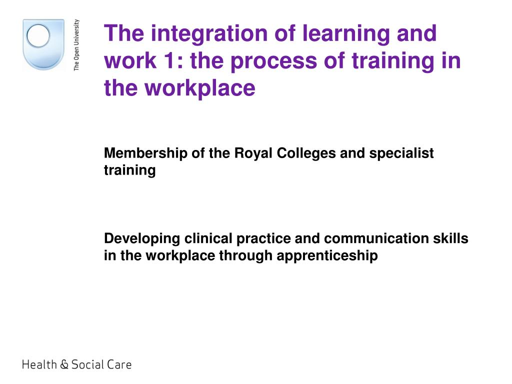 The integration of learning and work 1: the process of training in the workplace