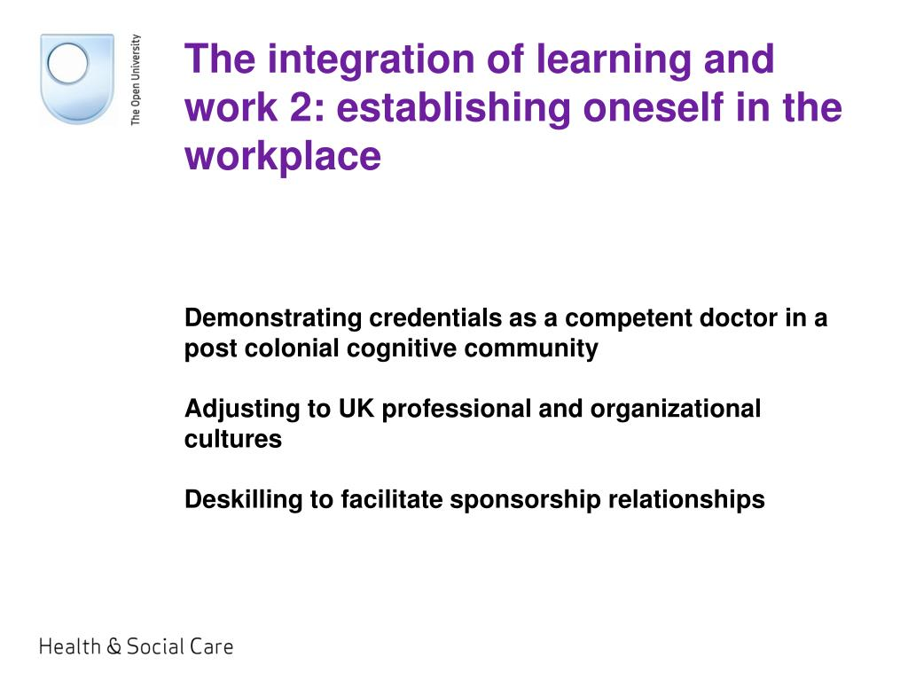 The integration of learning and work 2: establishing oneself in the workplace