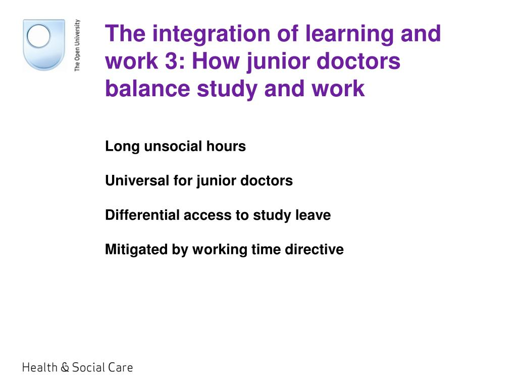 The integration of learning and work 3: