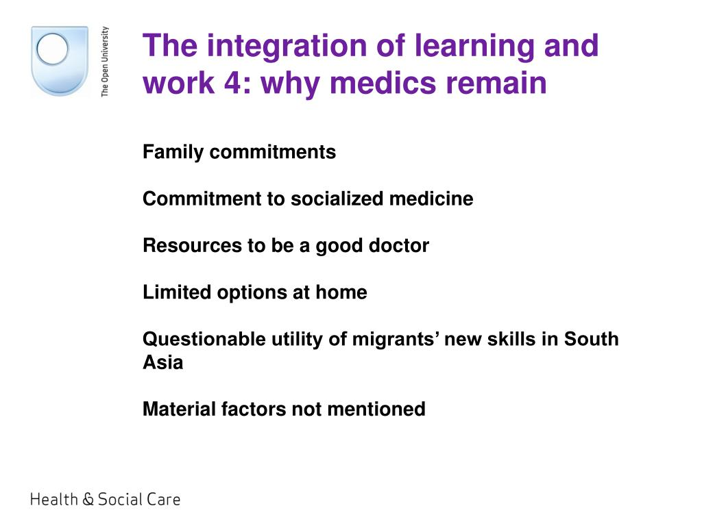 The integration of learning and work 4: