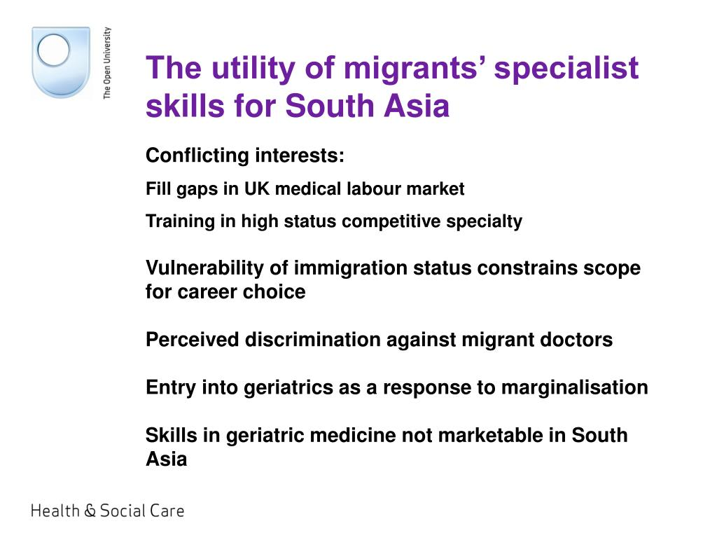 The utility of migrants' specialist skills for South Asia