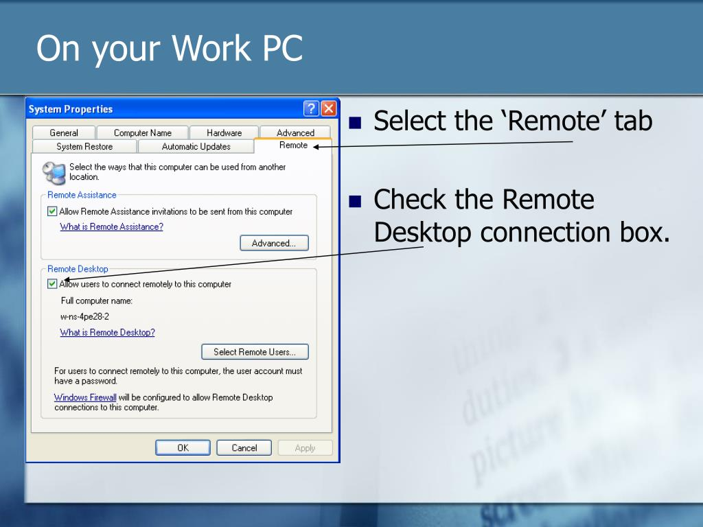 On your Work PC