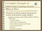 a complex example of addressing limiting factors