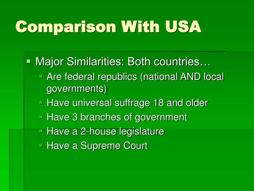 Comparison With USA