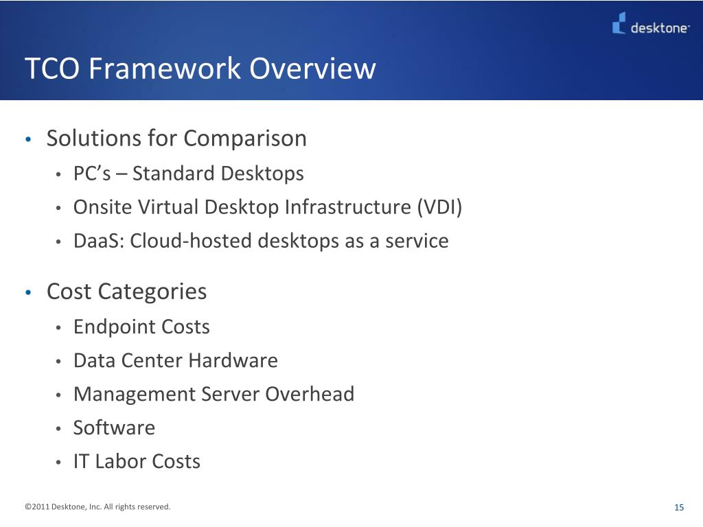TCO Framework Overview