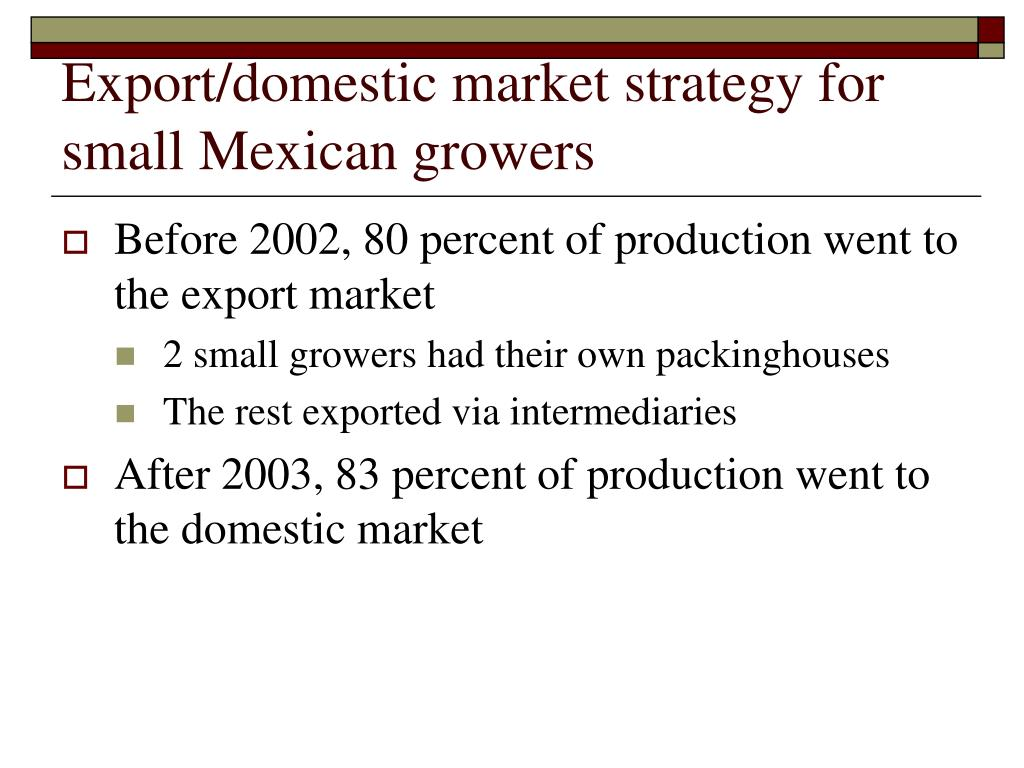 Export/domestic market strategy for small Mexican growers