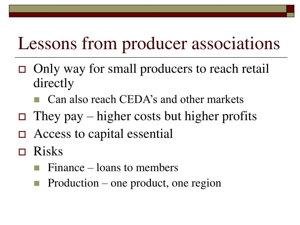 Lessons from producer associations