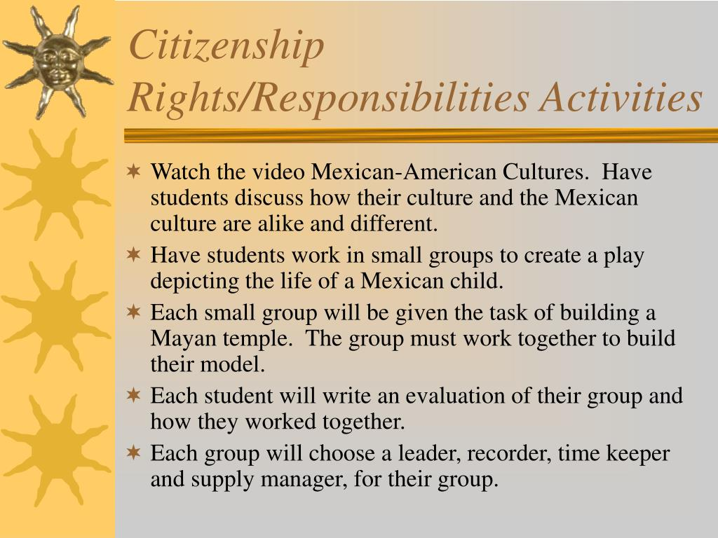 Citizenship Rights/Responsibilities Activities