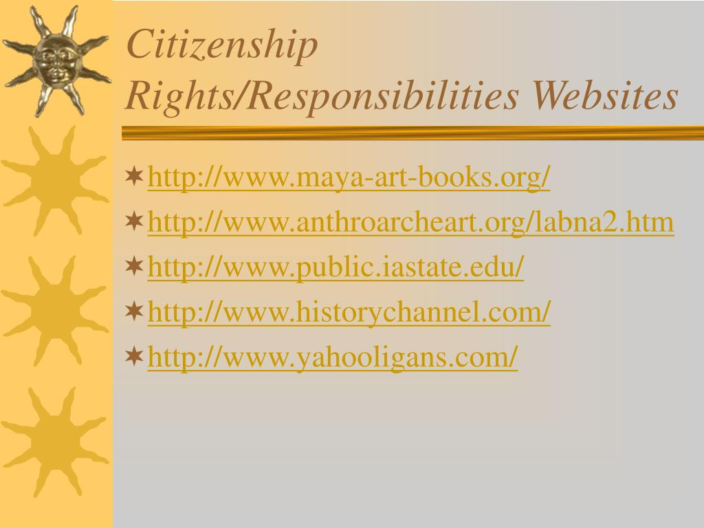 Citizenship Rights/Responsibilities Websites