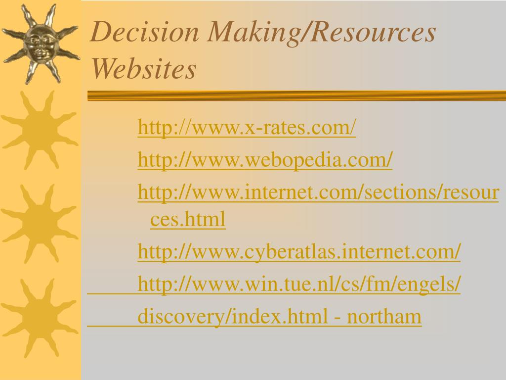 Decision Making/Resources Websites
