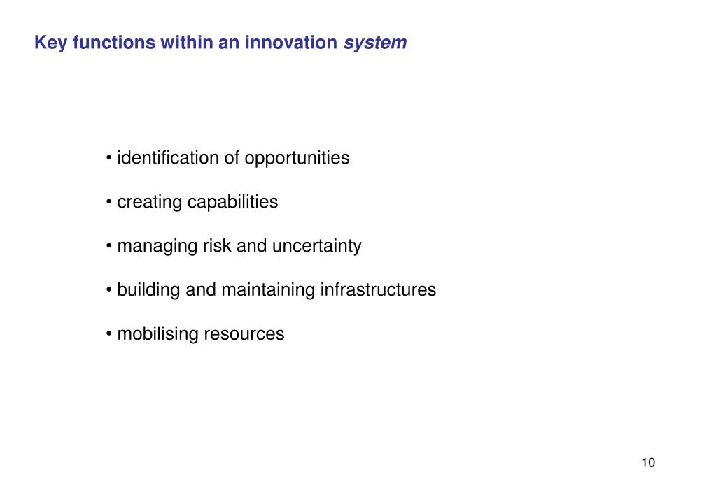 Key functions within an innovation