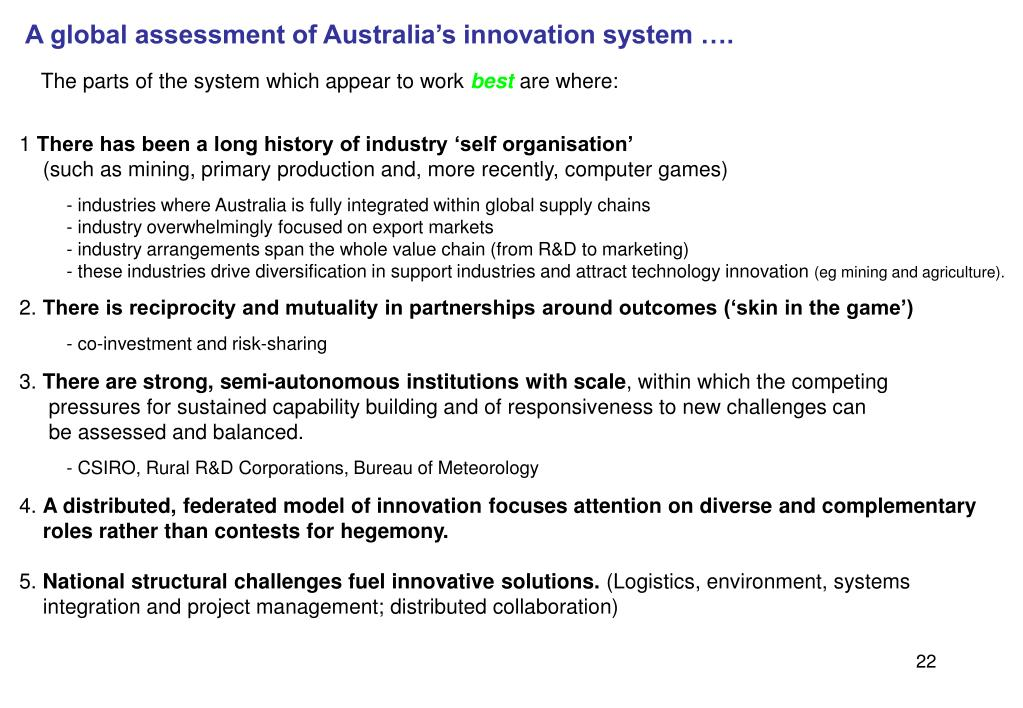 A global assessment of Australia's innovation system ….