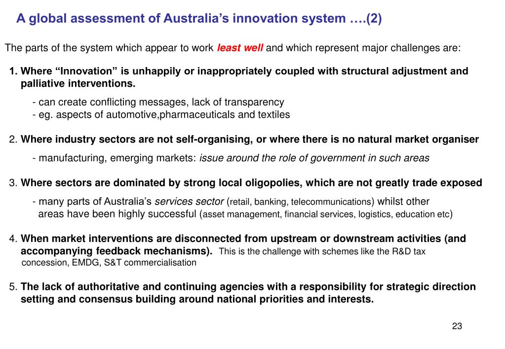 A global assessment of Australia's innovation system ….(2)