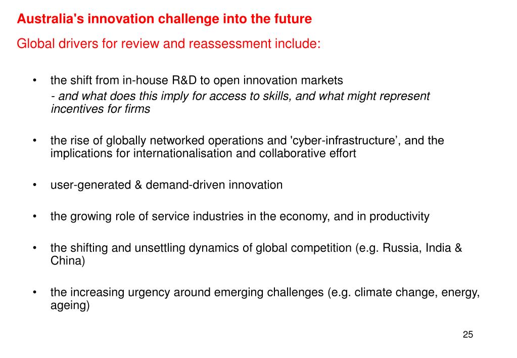 Australia's innovation challenge into the future