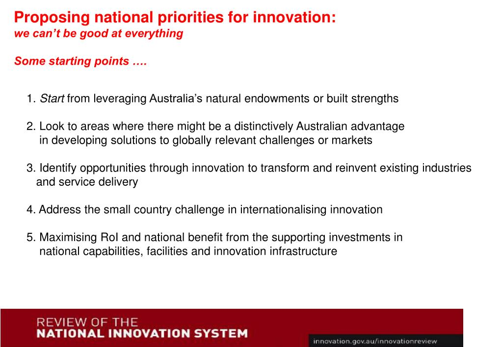 Proposing national priorities for innovation: