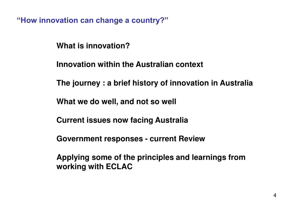 """How innovation can change a country?"""
