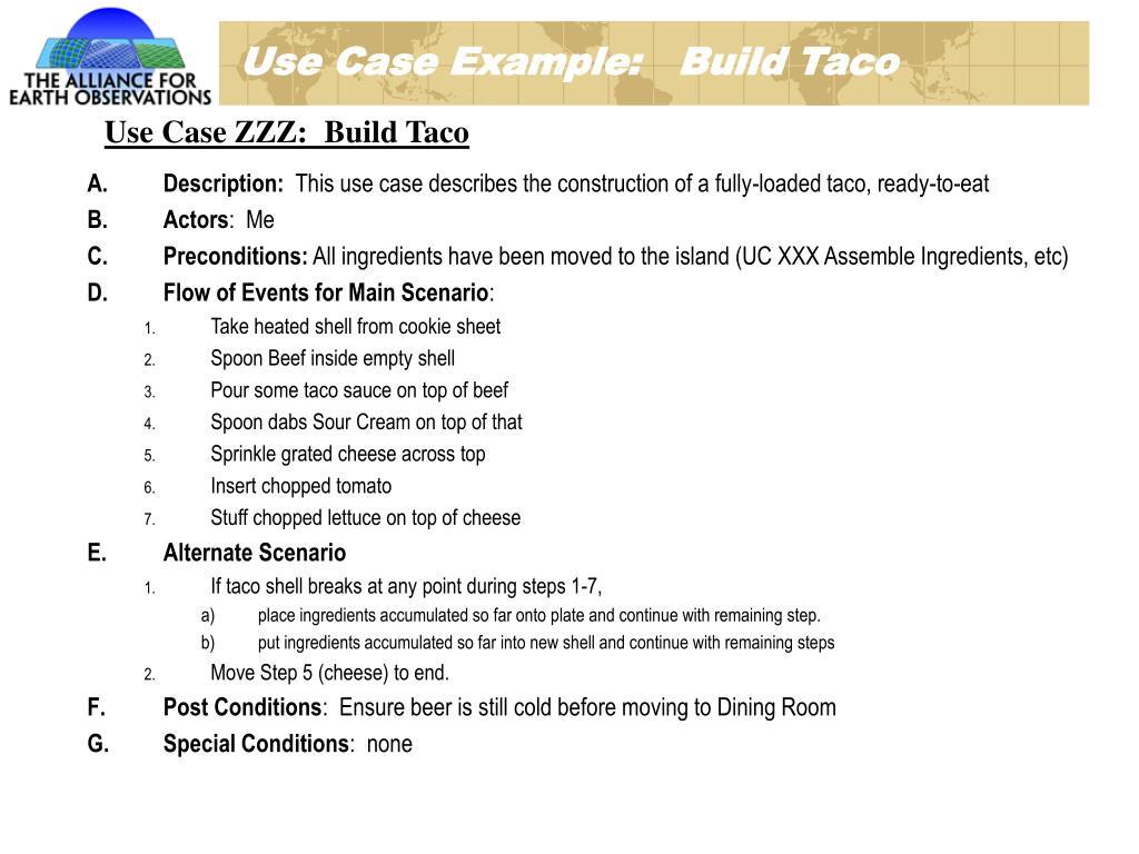Use Case Example:   Build Taco