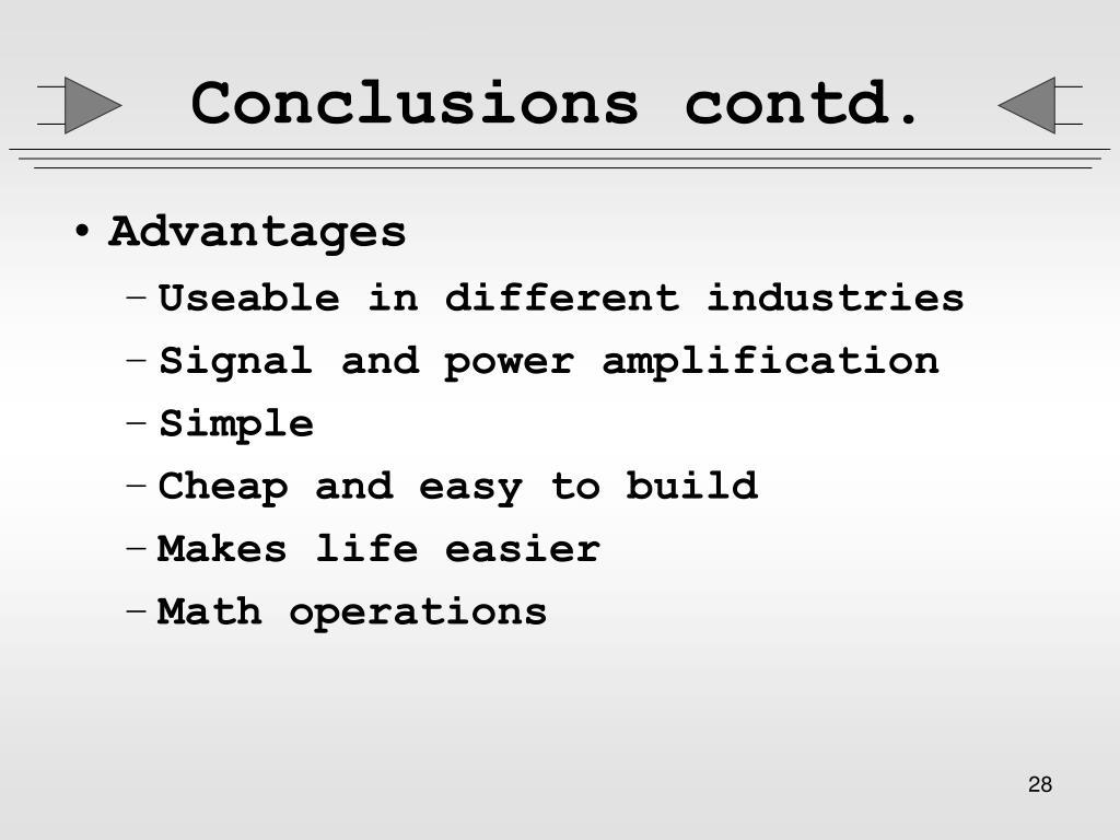Conclusions contd.