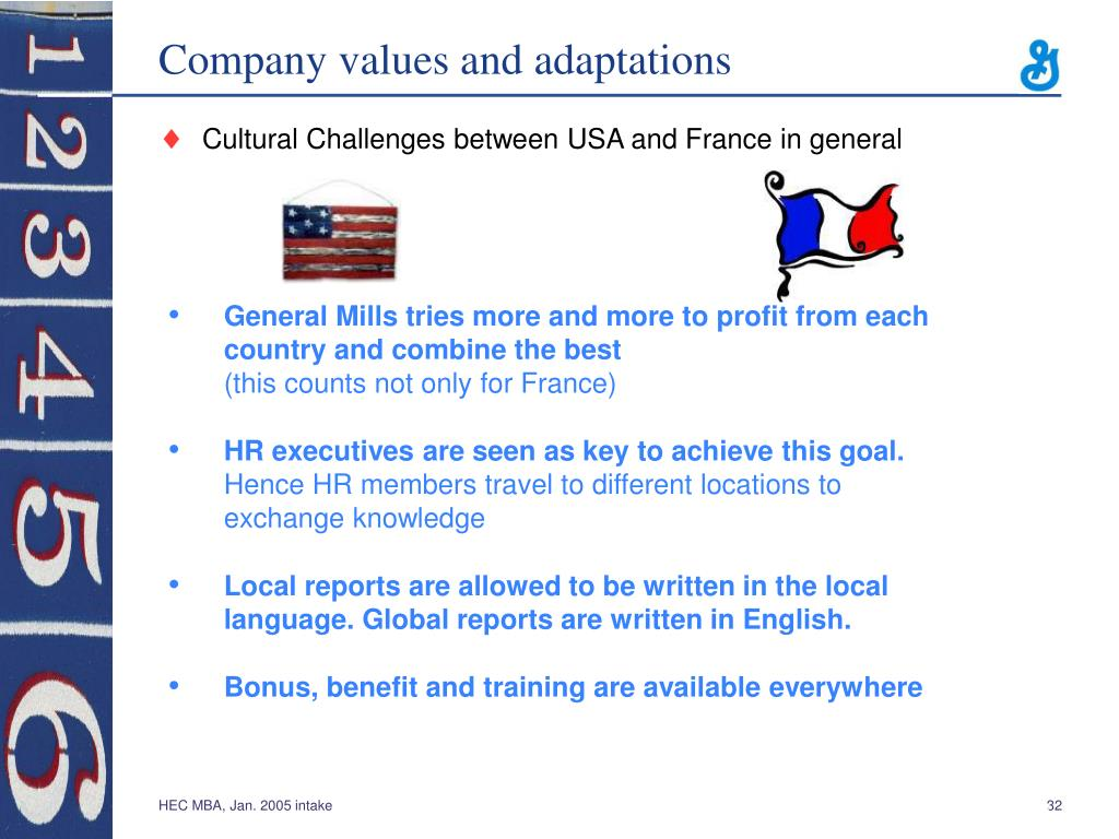 Company values and adaptations