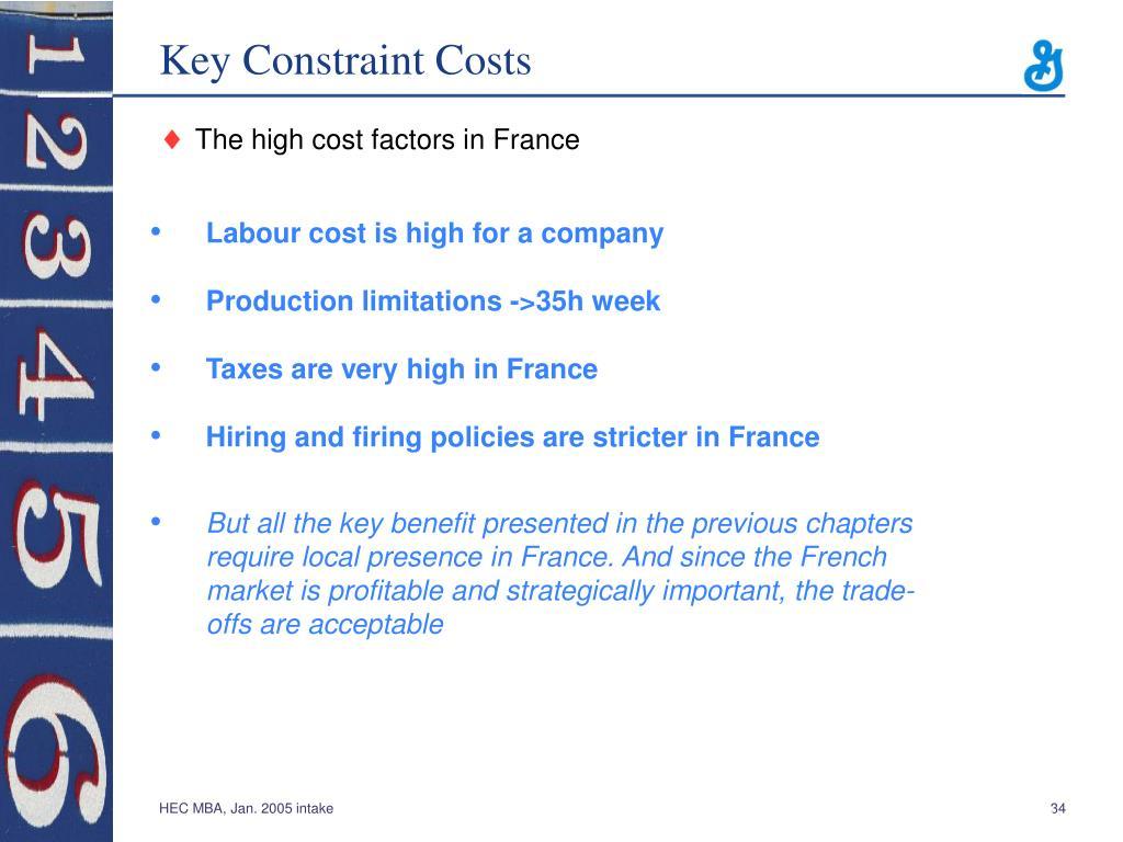Key Constraint Costs