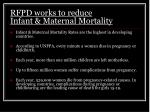rfpd works to reduce infant maternal mortality