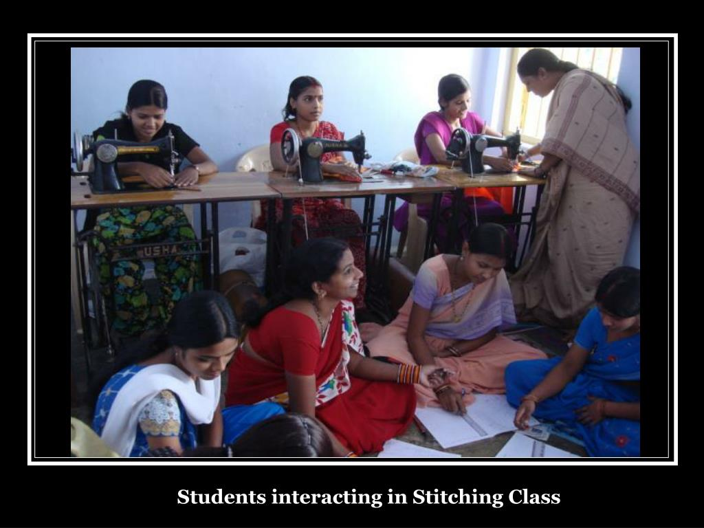 Students interacting in Stitching Class