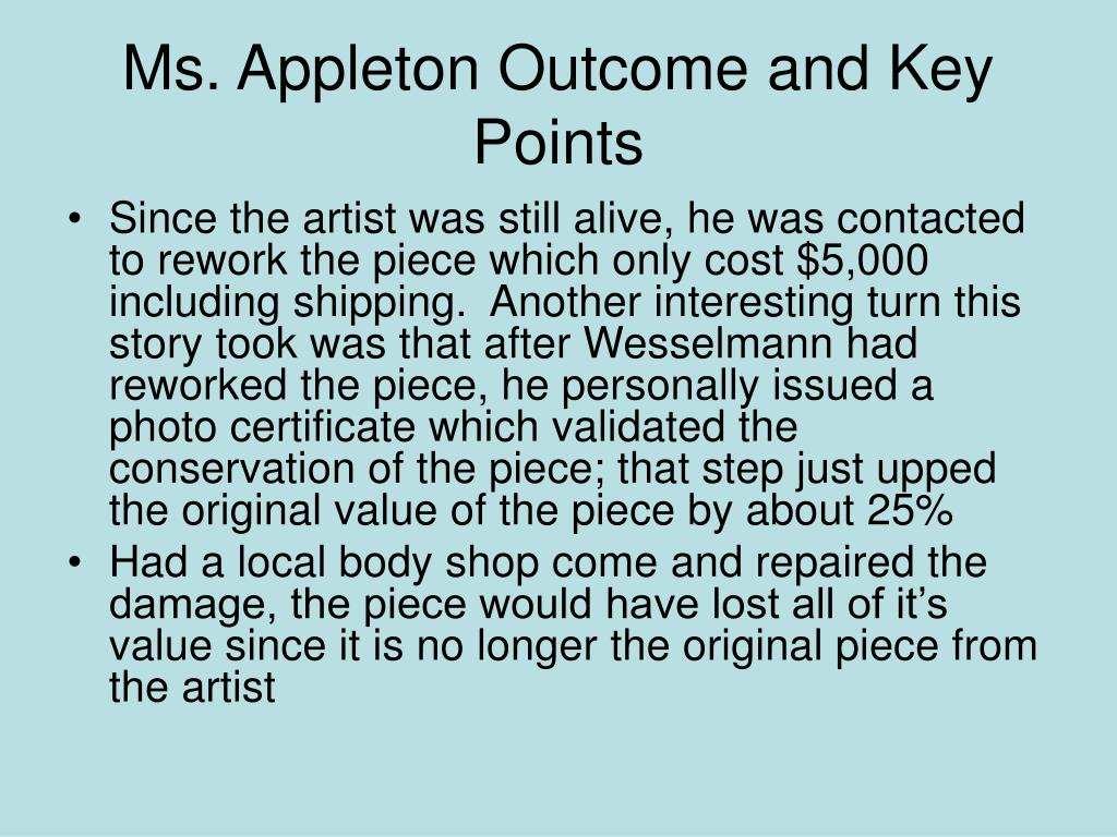 Ms. Appleton Outcome and Key Points