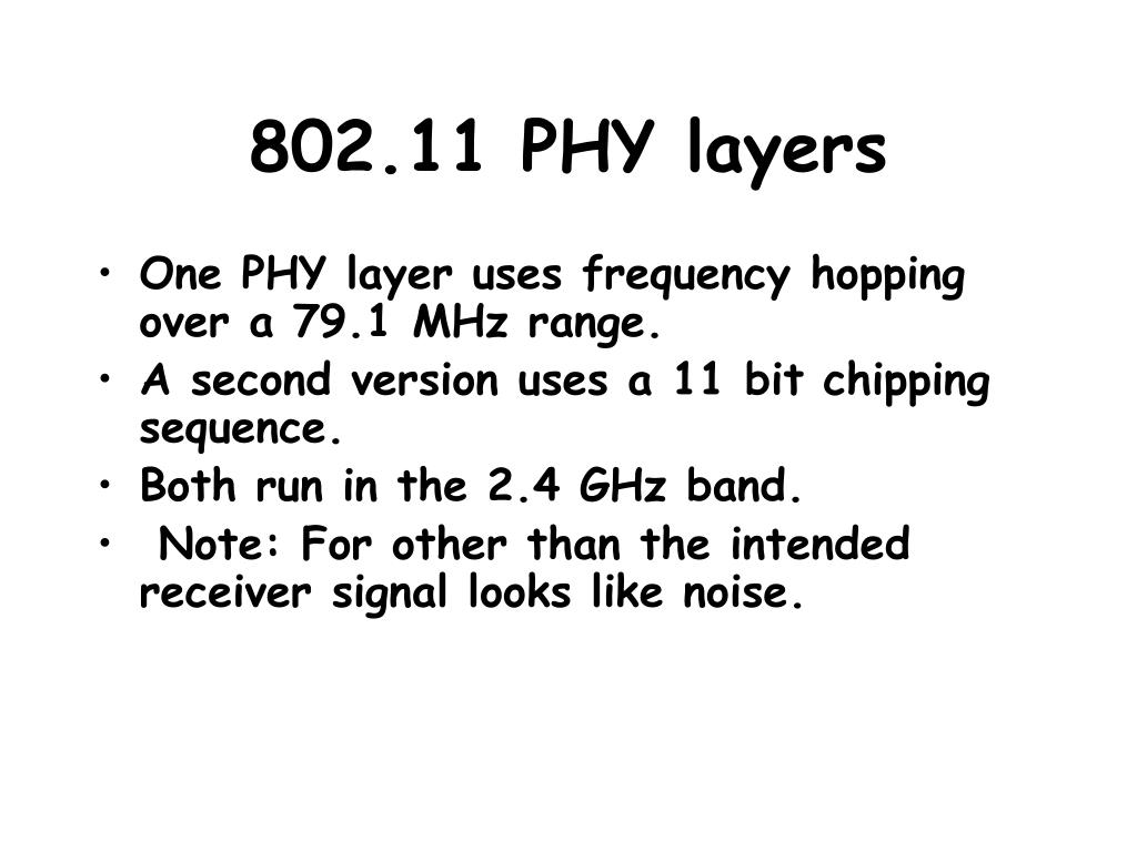 802.11 PHY layers