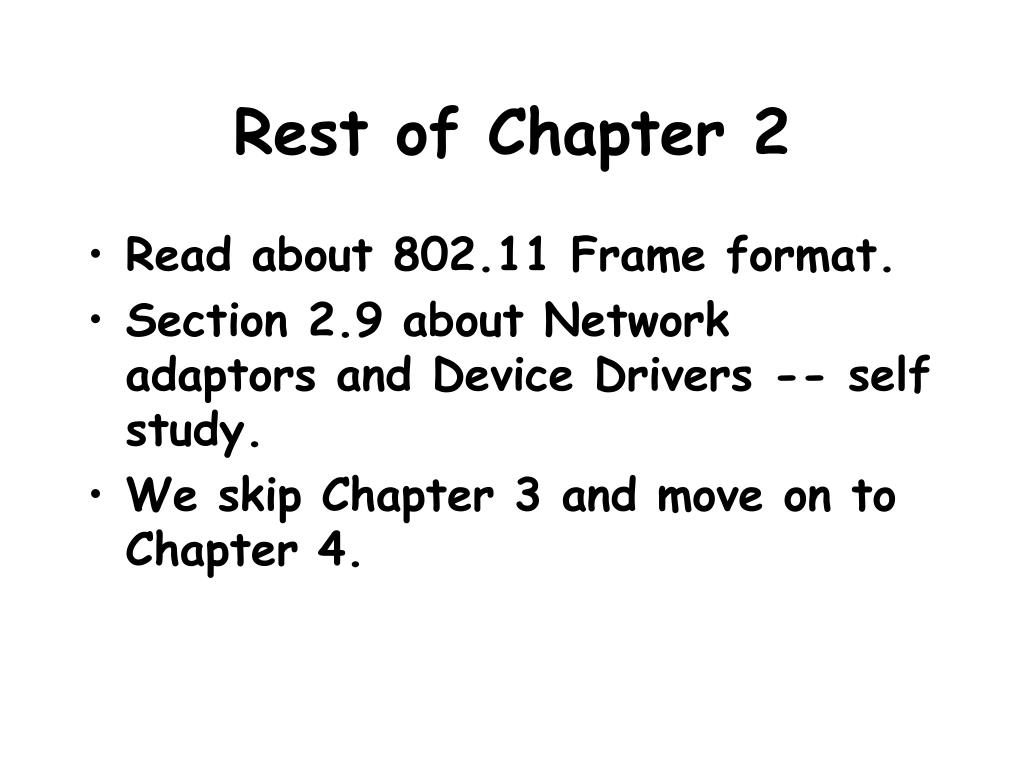 Rest of Chapter 2