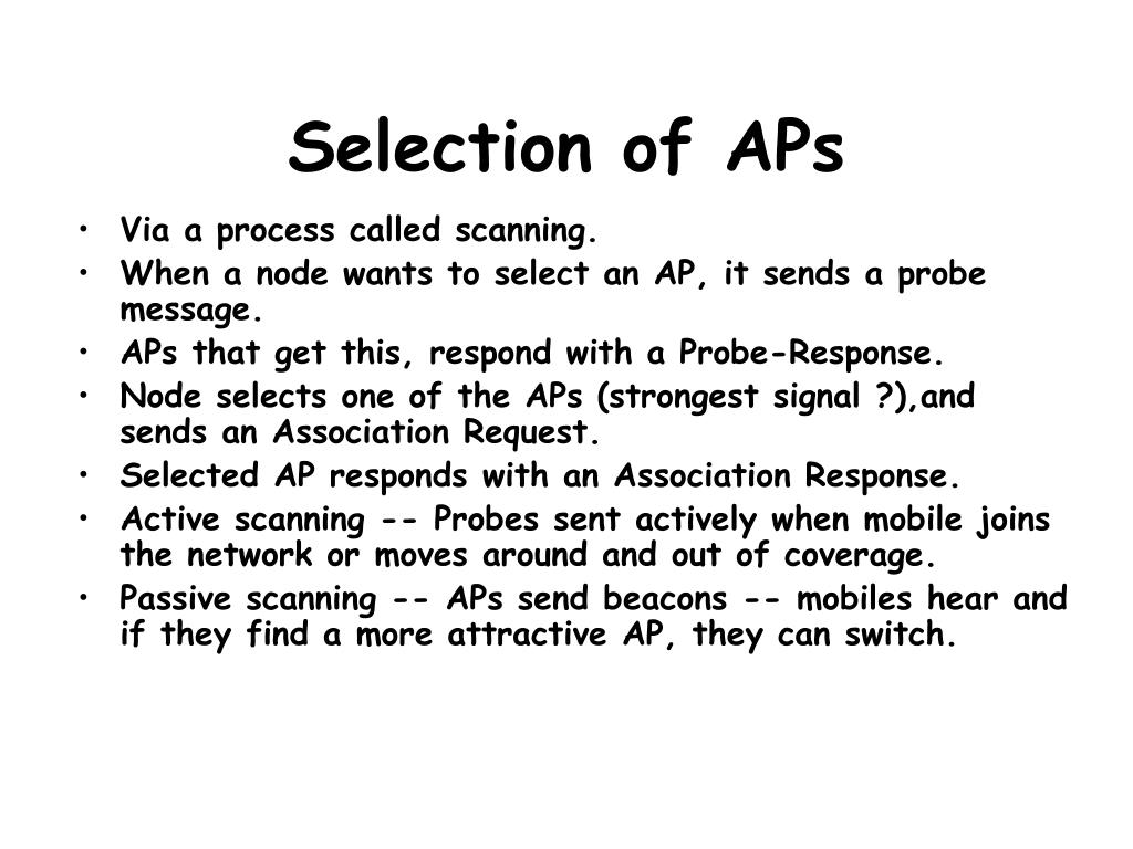 Selection of APs