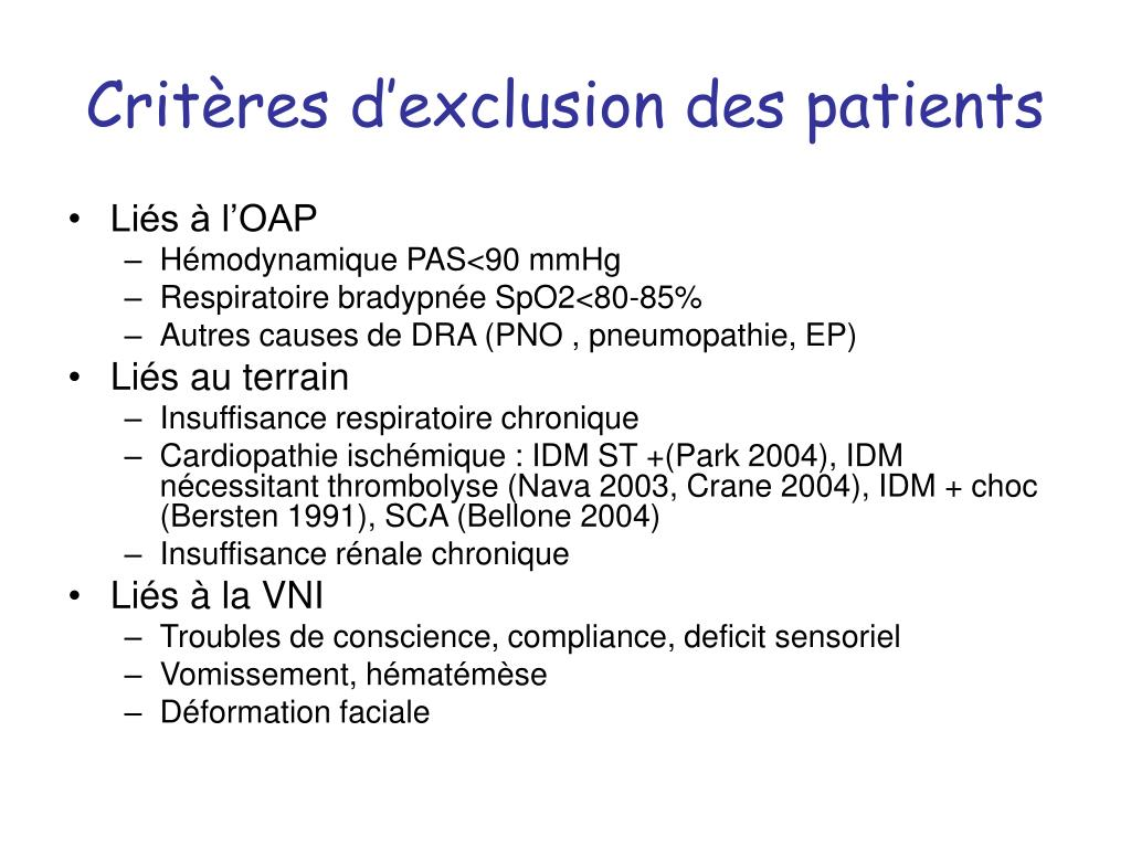 Critères d'exclusion des patients