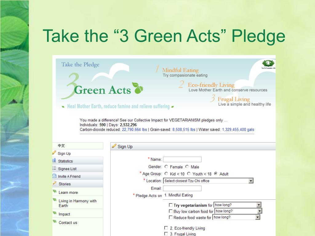 "Take the ""3 Green Acts"" Pledge"