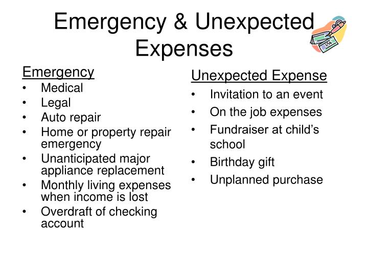 Emergency unexpected expenses