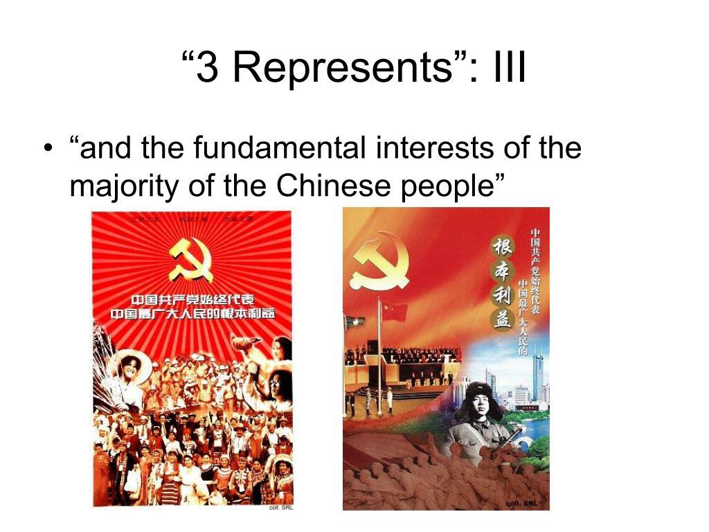 """3 Represents"": III"