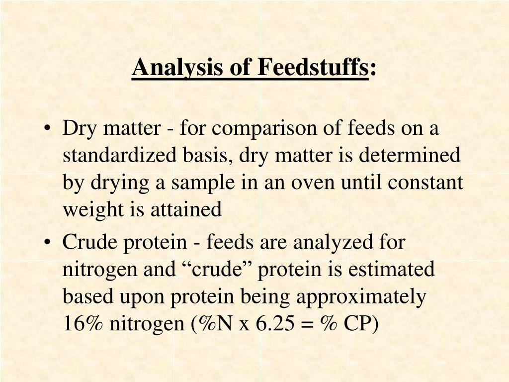 Analysis of Feedstuffs