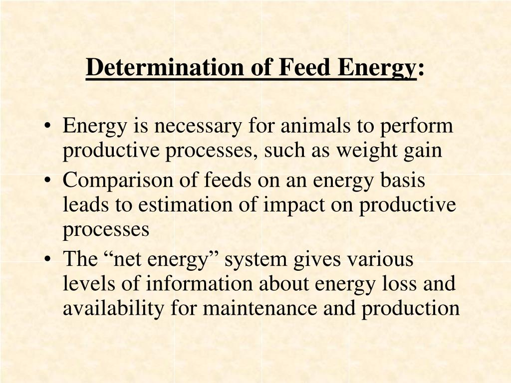 Determination of Feed Energy