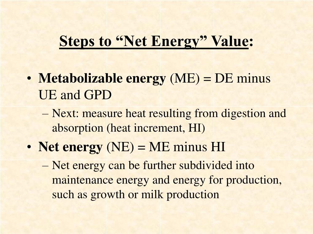 "Steps to ""Net Energy"" Value"