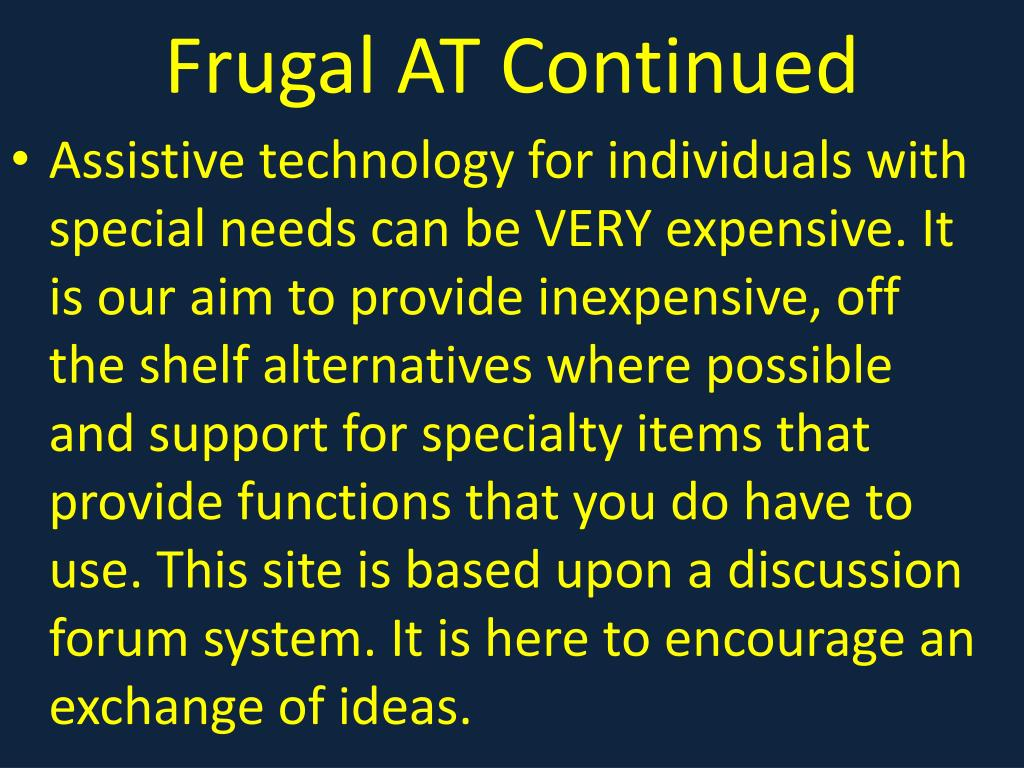 Frugal AT Continued