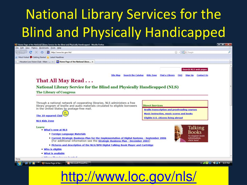 National Library Services for the Blind and Physically Handicapped