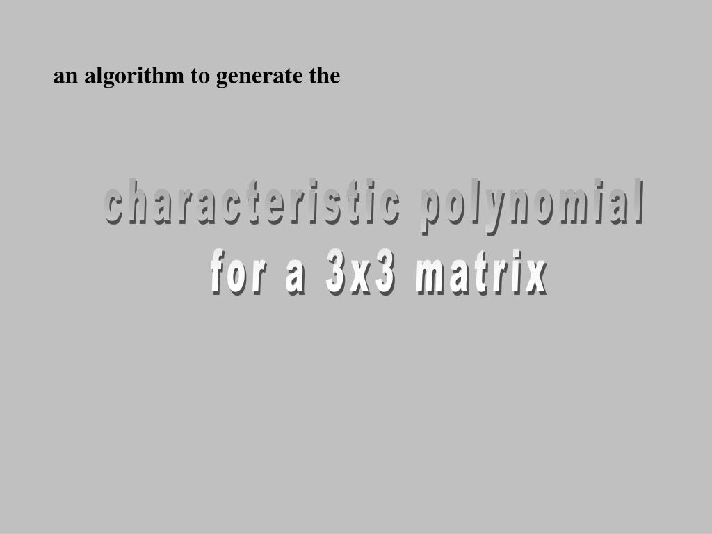 an algorithm to generate the