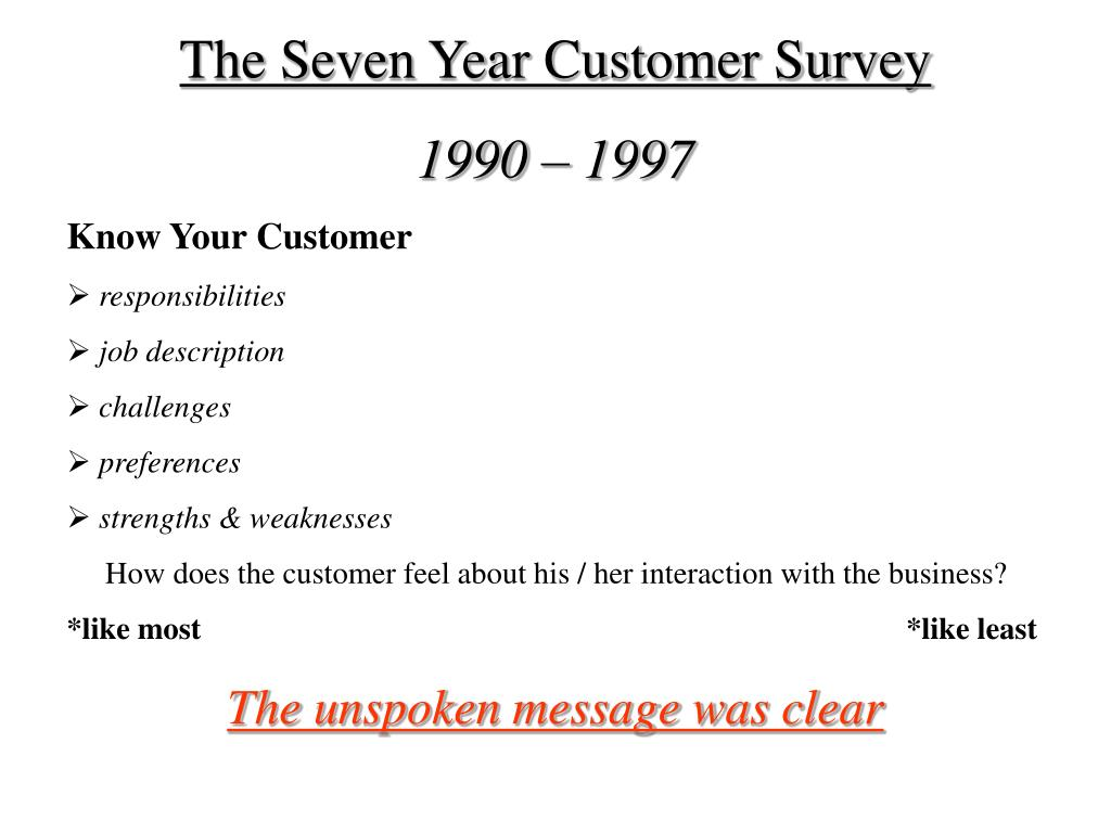 The Seven Year Customer Survey