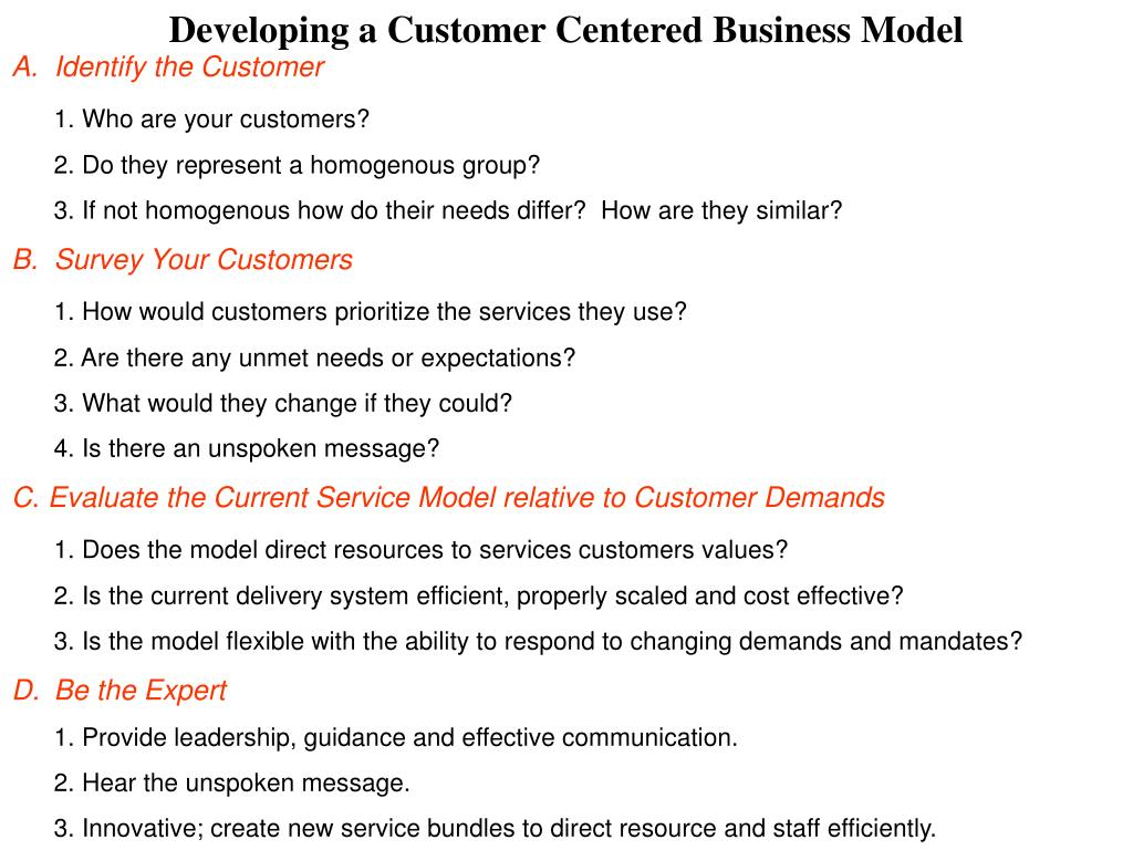 Developing a Customer Centered Business Model