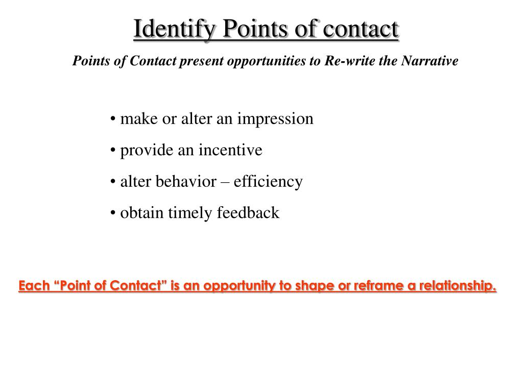 Identify Points of contact
