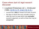 c ases where lack of legal research discussed