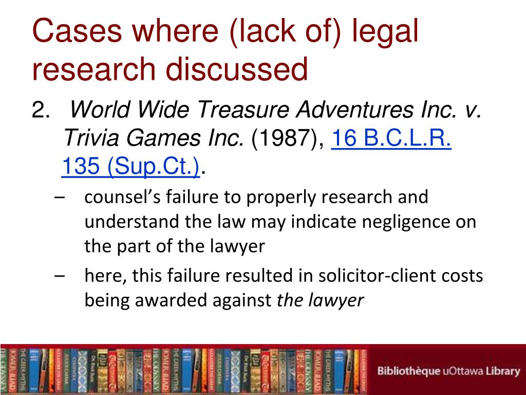 Cases where (lack of) legal research discussed