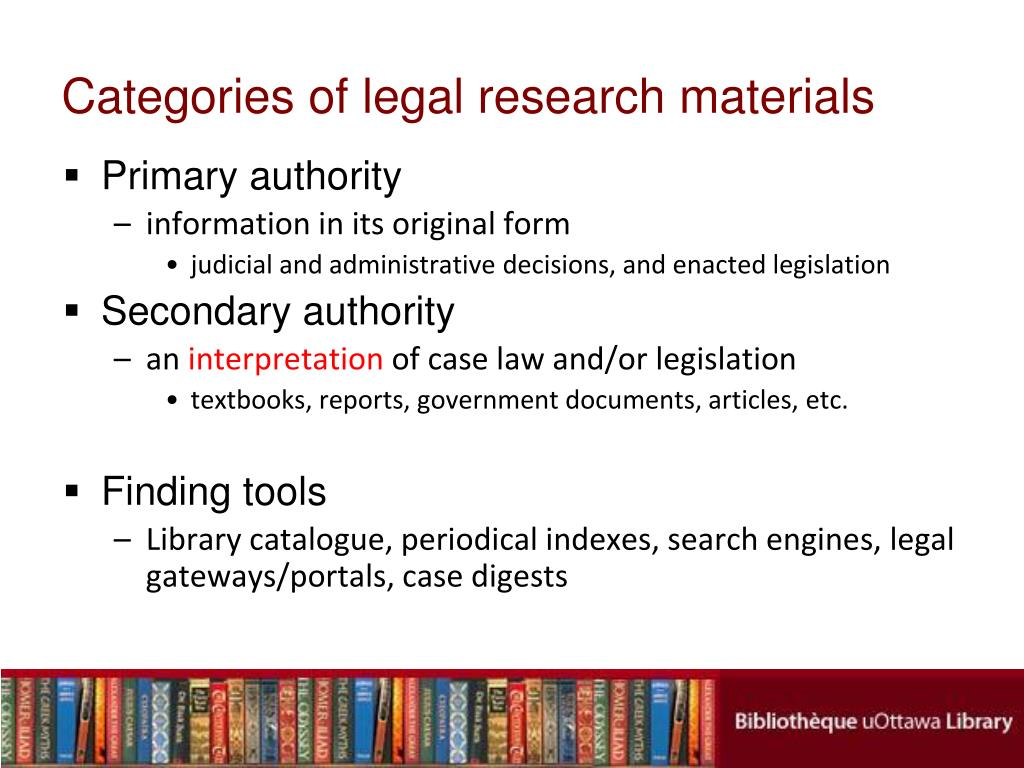 Categories of legal research materials