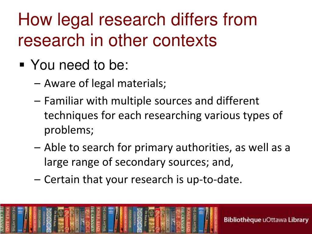 How legal research differs from research in other contexts