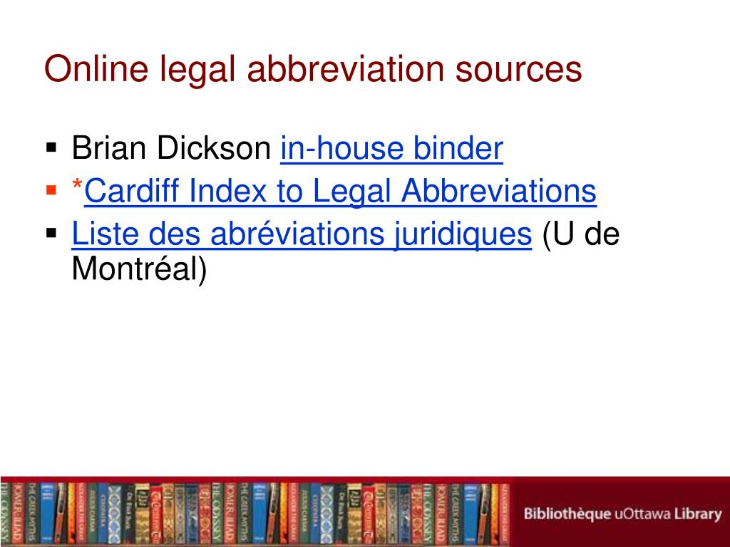 Online legal abbreviation sources