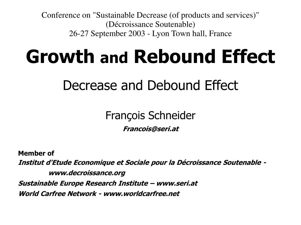 """Conference on """"Sustainable Decrease (of products and services)"""""""
