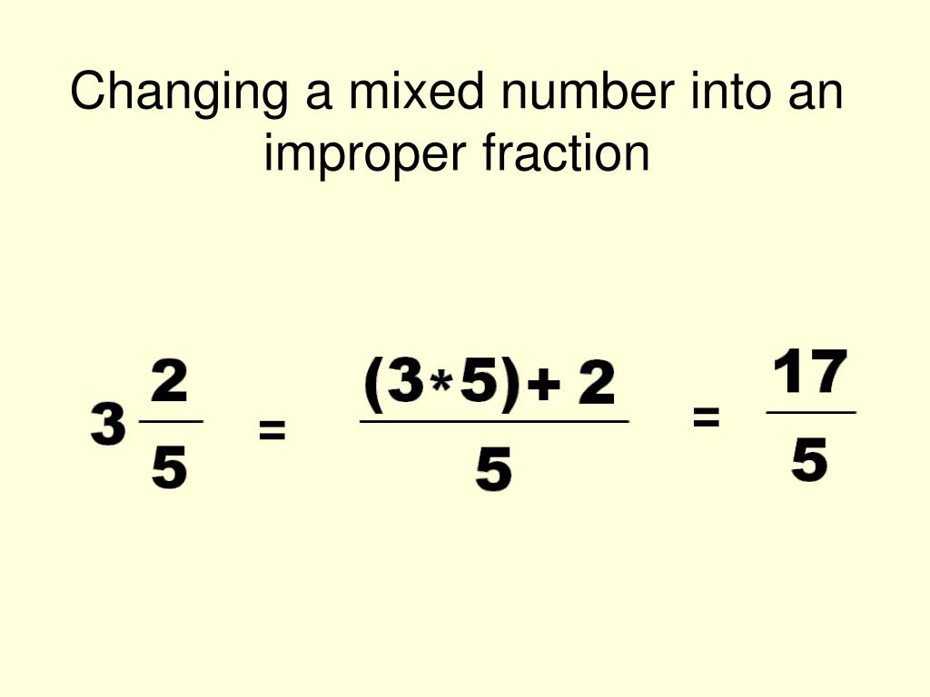 Changing a mixed number into an improper fraction terms